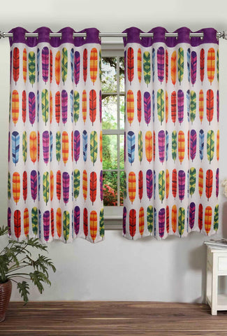 Lushomes Digitally Printed Feather Polyster Curtains with Eyelets for Windows - Lushomes