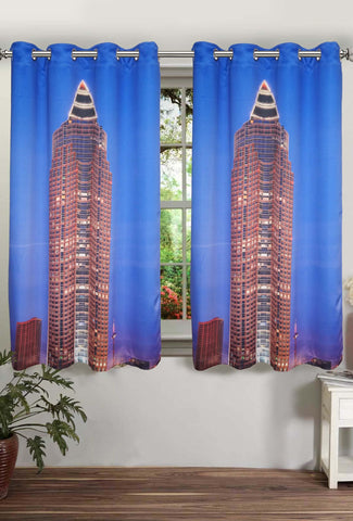 Lushomes Digitally Printed Frankfurt Polyster Curtains with Eyelets for Windows - Lushomes