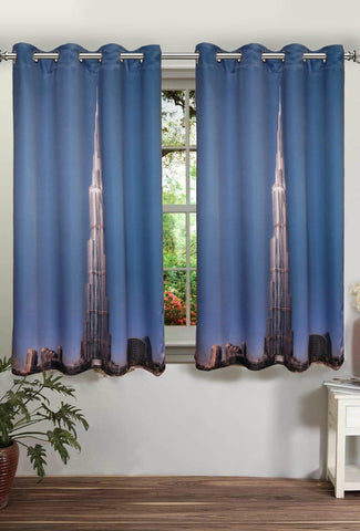 Lushomes Digitally Printed Khalifa Polyster Curtains with Eyelets for Windows - Lushomes