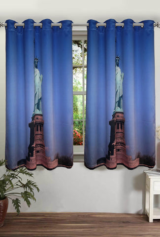 Lushomes Digitally Printed Statue of Liberty Polyster Curtains with Eyelets for Windows - Lushomes