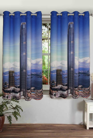Lushomes Digitally Printed Skyscraper Polyster Curtains with Eyelets for Windows - Lushomes