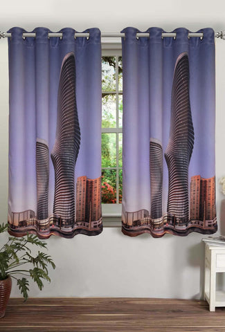 Lushomes Digitally Printed Two Buildings Polyster Curtains with Eyelets for Windows - Lushomes