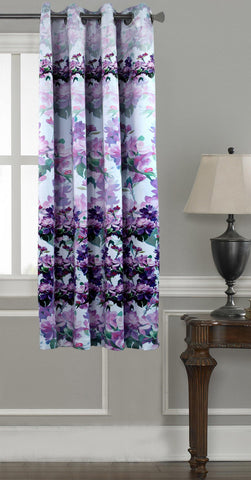Lushomes Digitally Printed Purple Blossom Polyester Blackout Curtains for Windows (Single pc) - Lushomes