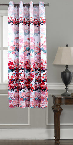 Lushomes Digitally Printed Red Blossom Polyester Blackout Curtains for Windows (Single pc) - Lushomes
