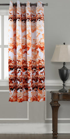 Lushomes Digitally Printed Orange Blossom Polyester Blackout Curtains for Windows (Single pc) - Lushomes