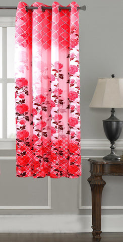 Lushomes Digitally Printed Pink Blossom Polyester Blackout Curtains for Windows (Single pc) - Lushomes