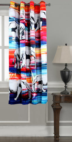 Lushomes Digitally Printed Elephant Polyester Blackout Curtains for Windows (Single pc) - Lushomes