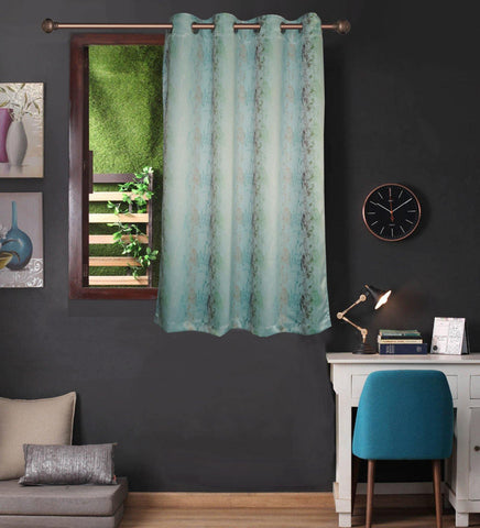 Lushomes Uber Premium 3D Printed Light Blue Based Abstract Window Curtains (Single Pc, Size 54 x 60 inch, 8 metal eyelets) - Lushomes