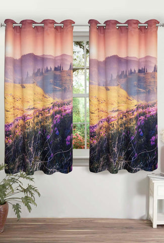 "Lushomes Digitally Printed Landscape Polyster Blackout Curtains with 8 Metal Eyelets for Window, Single pc. (Size: 48""x60"") - Lushomes"