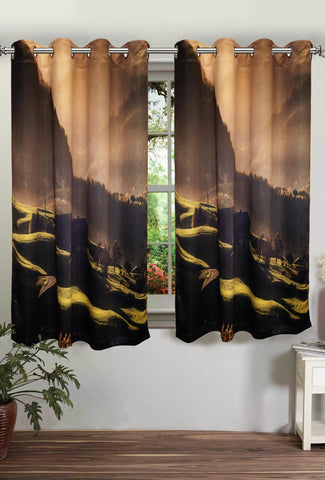 "Lushomes Digitally Printed Mountain Polyster Blackout Curtains with 8 Metal Eyelets for Window, Single pc. (Size: 48""x60"") - Lushomes"