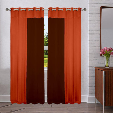 Lushomes Premium Blackout bi-color panel Curtain with 8 metal eyelets (Pack of 2 pcs) - Lushomes