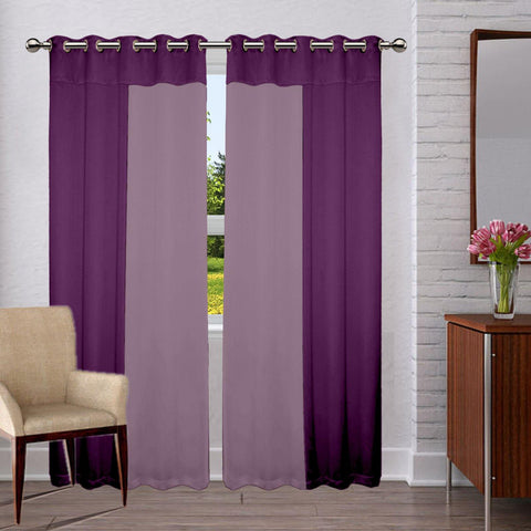 Lushomes Premium Blackout bi-color Purple and voilet panel Curtain with 8 metal eyelets (Pack of 2 pcs) - Lushomes