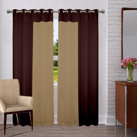 Lushomes Premium Blackout bi-color Beige and Brown panel Curtain with 8 metal eyelets (Pack of 2 pcs) - Lushomes