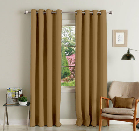 Lushomes Strong Ground Polyester Blackout Curtains with 8 Eyelets for Door - Lushomes