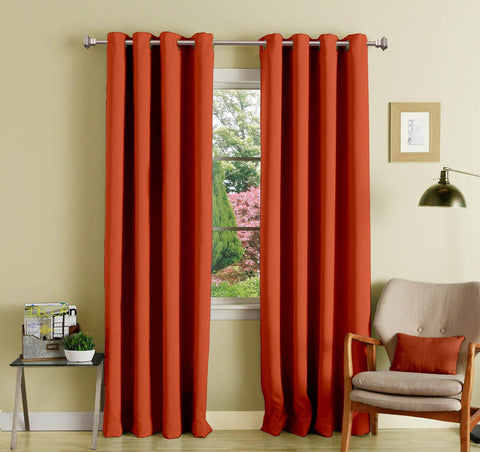 Lushomes Maroon Polyester Blackout Curtains with 8 Eyelets for Door - Lushomes
