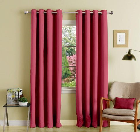 Lushomes Light Pink Polyester Blackout Curtains with 8 Eyelets for Door - Lushomes