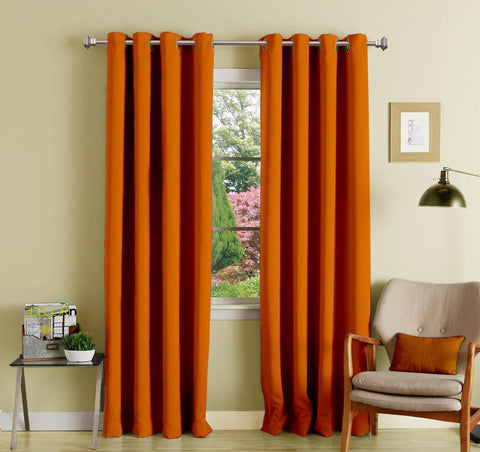Lushomes Mango Polyester Blackout Curtains with 8 Eyelets for Door - Lushomes