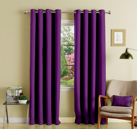 Lushomes Wine Polyester Blackout Curtains with 8 Eyelets for Door - Lushomes