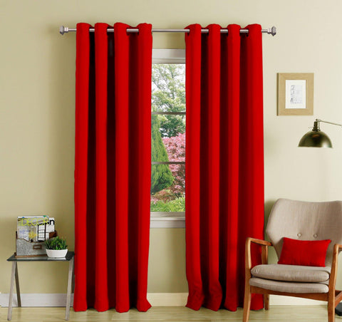 Lushomes Red Polyester Blackout Curtains with 8 Eyelets for Door - Lushomes