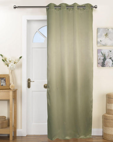 Lushomes Polyester Blackout Door Curtain - 7.5 feet, Green - Lushomes