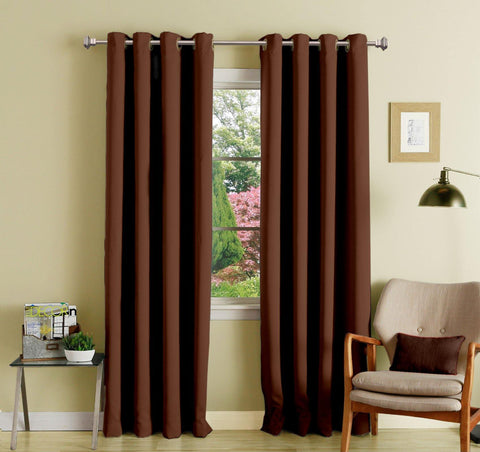 Lushomes Brown Polyester Blackout Curtains with 8 Eyelets for Long Door - Lushomes