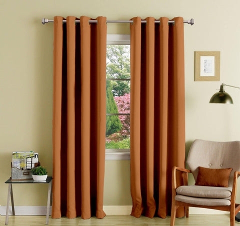 Lushomes Coffee Polyester Blackout Curtains with 8 Eyelets for Long Door - Lushomes