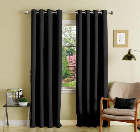 Lushomes Black Polyester Blackout Curtains with 8 Eyelets for Long Door - Lushomes
