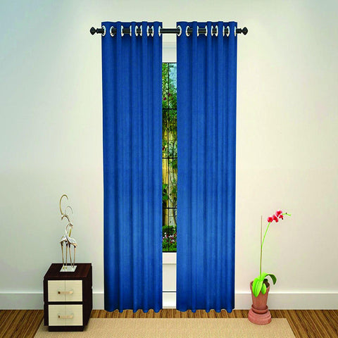 Lushomes Polyester Blackout  Long Door Curtain - 9 feet, Blue - Lushomes