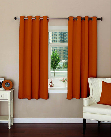 "Lushomes Plain Mango Polyester Blackout Curtains with 8 Metal Eyelets for Windows (Size: 54""x60"", Single pc) - Lushomes"
