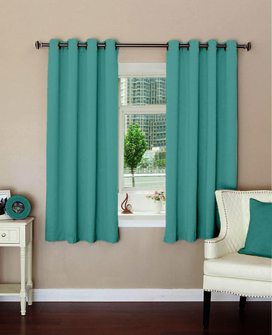 "Lushomes Plain Blue Stone Polyester Blackout Curtains with 8 Metal Eyelets for Windows (Size: 54""x60"", Single pc) - Lushomes"