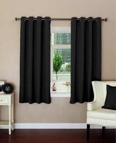 "Lushomes Plain Black Polyester Blackout Curtains with 8 Metal Eyelets for Windows (Size: 54""x60"", Single pc) - Lushomes"