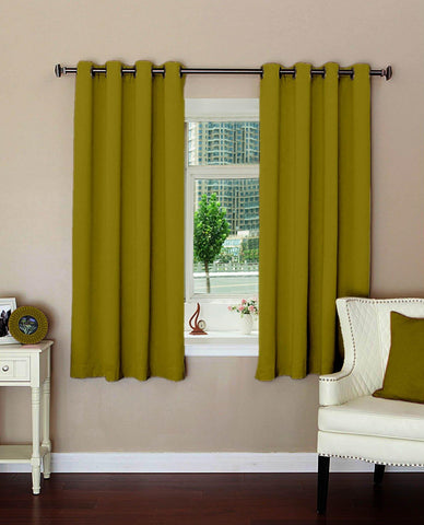 "Lushomes Plain Ginger Polyester Blackout Curtains with 8 Metal Eyelets for Windows (Size: 54""x60"", Single pc) - Lushomes"