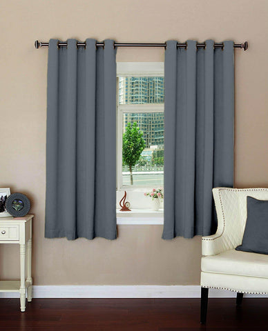 "Lushomes Plain Metal Polyester Blackout Curtains with 8 Metal Eyelets for Windows (Size: 54""x60"", Single pc) - Lushomes"