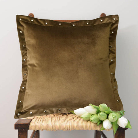 "Lushomes Smooth Tan Velvet Cushion covers with some metallic Oomph (Single Pc, 16"" x 16"") - Lushomes"