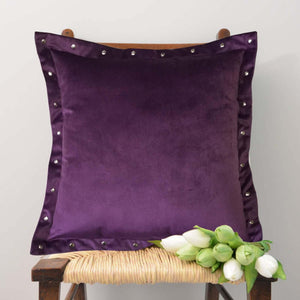 "Lushomes Smooth Violet Velvet Cushion covers with some metallic Oomph (Single Pc, 16"" x 16"") - Lushomes"