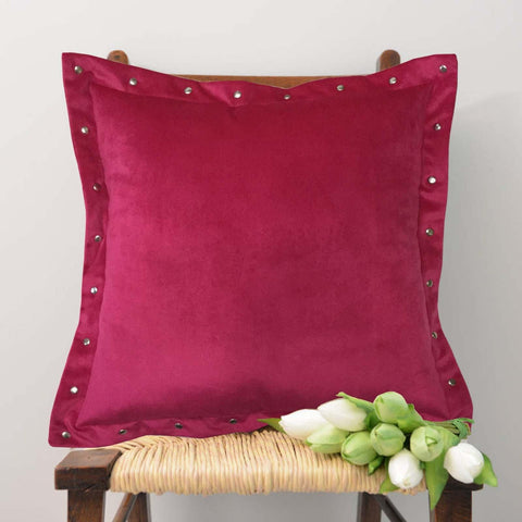 "Lushomes Smooth Fuchsia Velvet Cushion covers with some metallic Oomph (Single Pc, 16"" x 16"") - Lushomes"