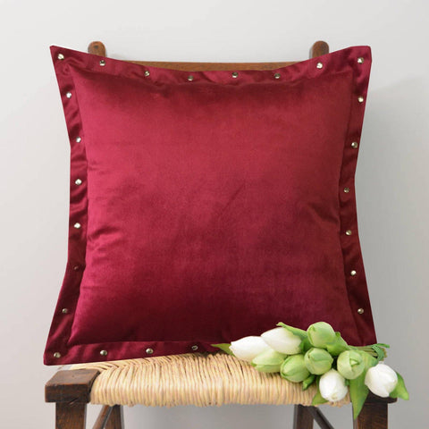 "Lushomes Smooth Maroon Velvet Cushion covers with some metallic Oomph (Single Pc, 16"" x 16"") - Lushomes"