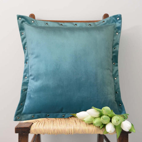 "Lushomes Smooth Turquoise Velvet Cushion covers with some metallic Oomph (Single Pc, 16"" x 16"") - Lushomes"