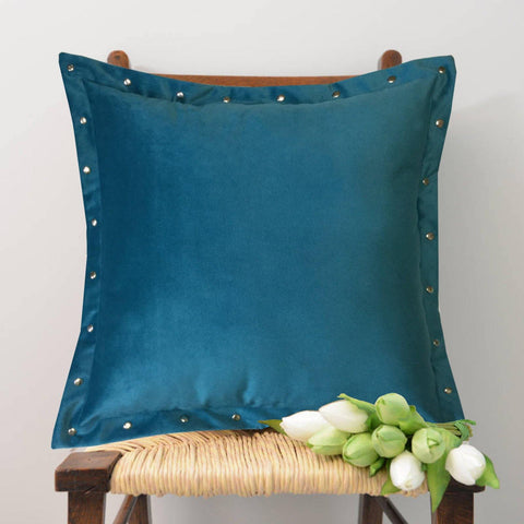 "Lushomes Smooth Sky Blue Velvet Cushion covers with some metallic Oomph (Single Pc, 16"" x 16"") - Lushomes"