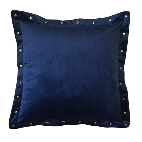 "Lushomes Smooth Navy Blue Velvet Cushion covers with some metallic Oomph (Single Pc, 16"" x 16"") - Lushomes"