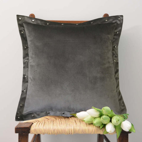 "Lushomes Smooth Light Grey Velvet Cushion covers with some metallic Oomph (Single Pc, 16"" x 16"") - Lushomes"