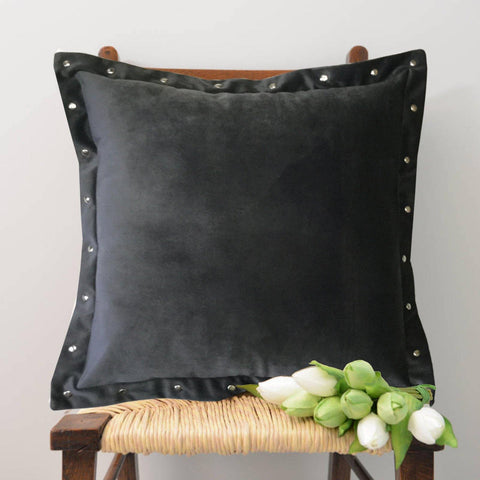"Lushomes Smooth Dark Grey Velvet Cushion covers with some metallic Oomph (Single Pc, 16"" x 16"") - Lushomes"