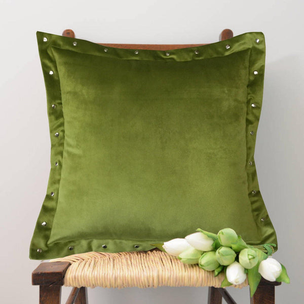 "Lushomes Smooth Green Velvet Cushion Covers with matching vibrant Pom Poms (Single Pc, 16"" x 16"") - Lushomes"
