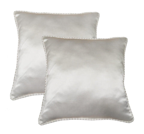 "Lushomes Cream Contemporary Plain Cushion Cover with Striped Piping, 12 x 12""(Pack of 2) Torantina Collection - Lushomes"