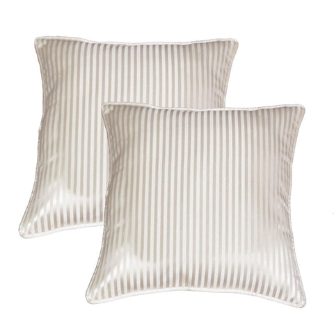 "Lushomes cream contemporary stripped cushion cover with plain piping, 12 x 12""(Pack of 2) Torantina Collection - Lushomes"