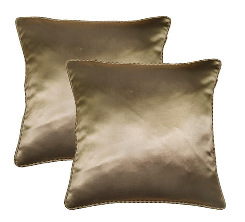 "Lushomes brown contemporary plain cushion cover with striped piping, 16 x 16""(Pack of 2) Torantina Collection - Lushomes"
