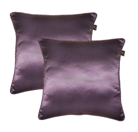 "Lushomes purple contemporary plain cushion cover with striped piping, 16 x 16""(Pack of 2) Torantina Collection - Lushomes"