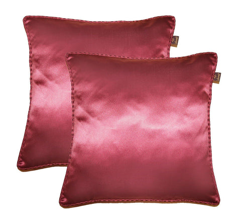 "Lushomes burgundy contemporary plain cushion cover with striped piping, 16 x 16""(Pack of 2) Torantina Collection - Lushomes"
