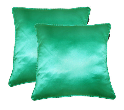 "Lushomes sea green contemporary plain cushion cover with striped piping, 16 x 16""(Pack of 2) Torantina Collection - Lushomes"