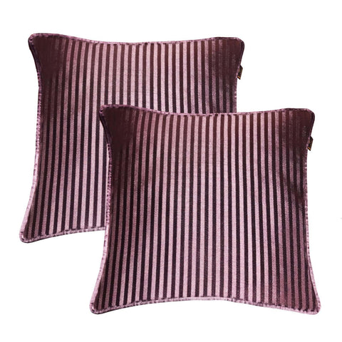 "Lushomes purple contemporary stripped cushion cover with plain piping, 16 x 16""(Pack of 2) Torantina Collection - Lushomes"